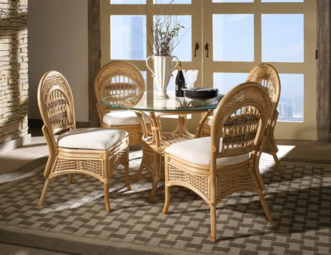 rattan furniture tropical dining room new york by
