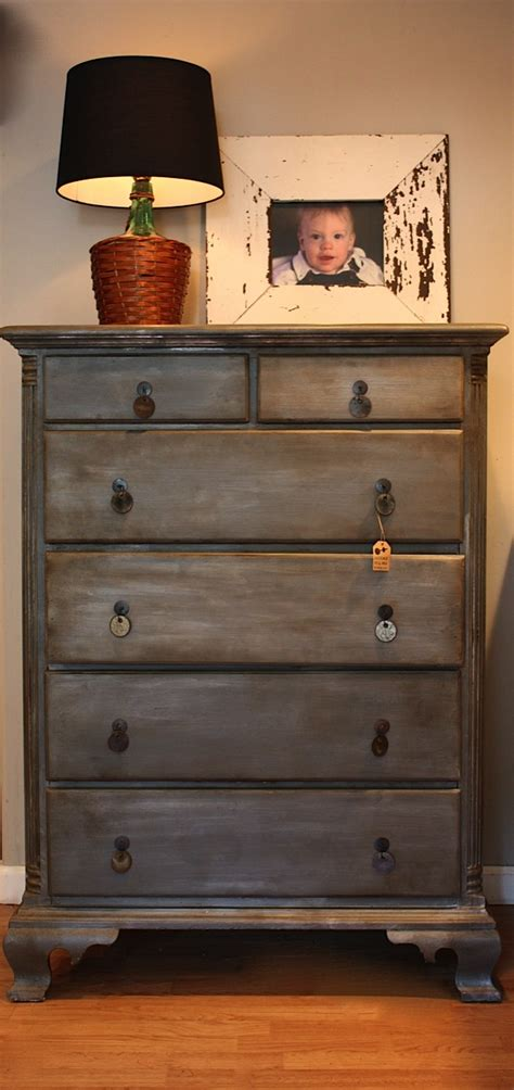 How To Paint A Dresser Metallic Silver by Diy Zinc Faux Finish On A Dresser Using Grey Paint