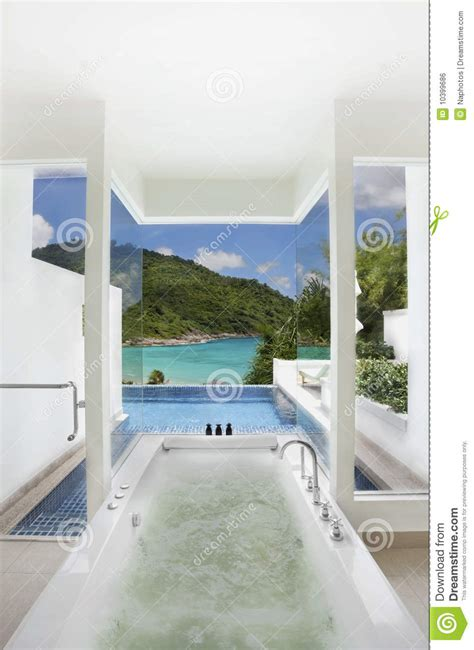 pool in bathroom luxury bathroom closes swimming pool and sea view stock