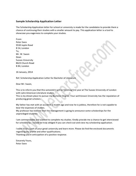 Financial Difficulties Letter Student A Scholarship Application Letter Is Essential If A Student Wishes To Get Some Financial