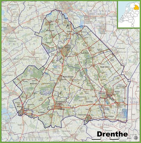 netherlands map assen map of drenthe with cities and towns