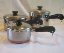 revere ware copper bottom set 1 2 3 qt pans lids from