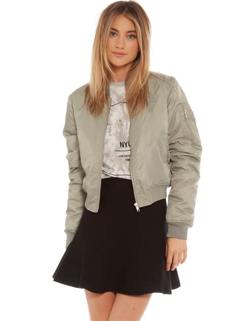 stussy luxe satin cropped bomber jacket in airforce grey