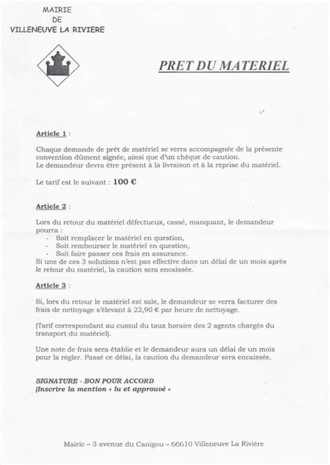 Demande De Matériel Lettre Tarifs Communaux Mairie De Villeneuve De La Rivi 232 Re