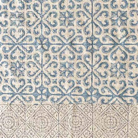 teppich landhausstil blau baumwollteppich mit fransen zum wenden bei