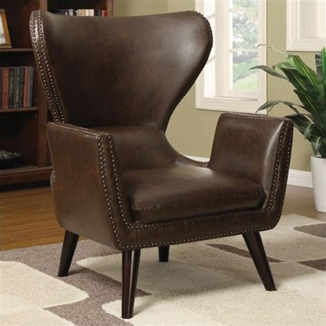 Brown Accent Chair Coaster Transitional Faux Leather Accent Chair In Brown 902089