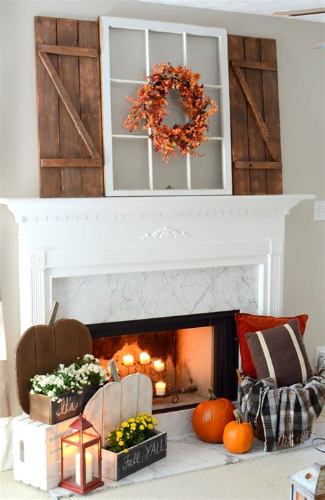 rustic fall mantel  diy wood pumpkins diy barn wood