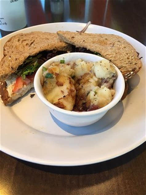 chicken salad sandwich with grilled potato salad picture