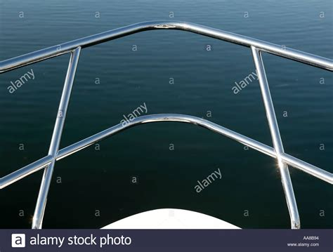 bow boat rails chrome hand rail on bow of boat stock photo 691092 alamy