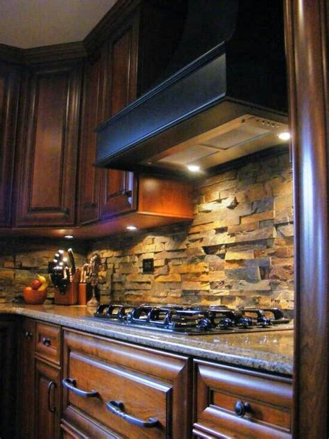 Stacked Stone Kitchen Backsplash Stacked Stone Backsplash Backsplash Pinterest Copper