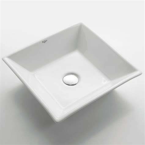 Kraus Bathroom Sinks by Kraus Kcv 125 White Square Ceramic Sink Modern Bathroom Sinks New York By Expressdecor