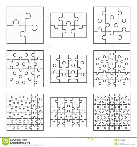 Set Of 9 Templates For jigsaw puzzle nine flat blank templates set stock