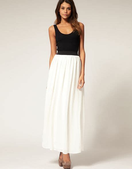 asos collection asos chiffon maxi skirt in white