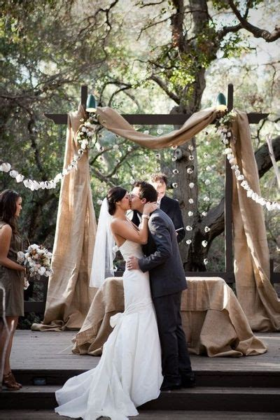 burlap draping wedding rustic wedding arch draped with burlap to add a little