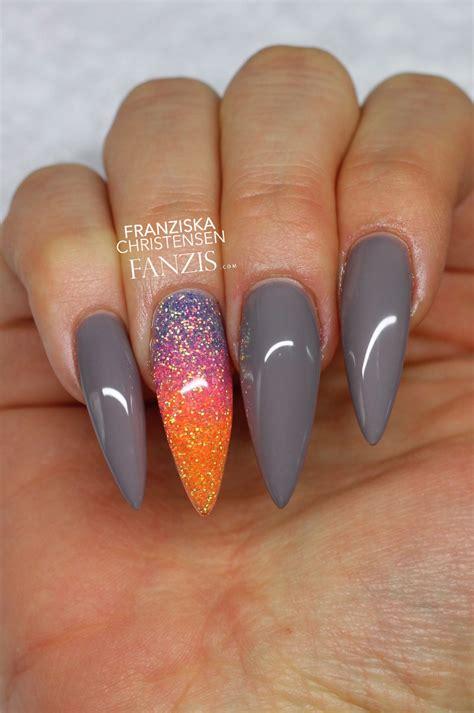 Glitter Nail by Grey Neon Glitter Stiletto Nails N A I L S
