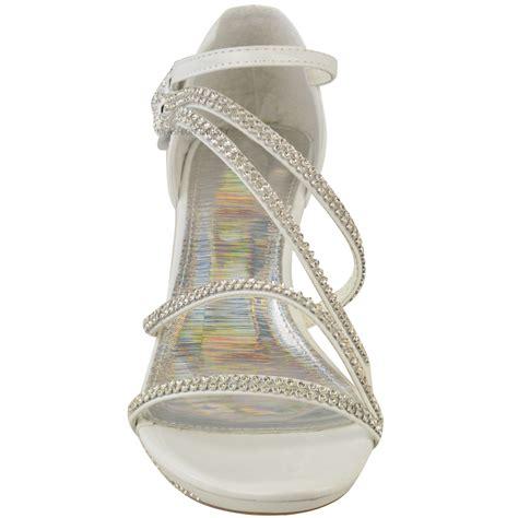 Bridal Sandals Low Heel by Womens Low Heel Diamante Bridal Wedding Sandals