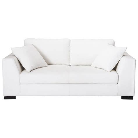 white leather 2 seater sofa 2 3 seater leather sofa in white terence maisons du monde