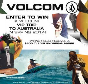 Tilly S Sweepstakes - tilly s volcom vip trip to the australia sweepstakes win a trip to australia more