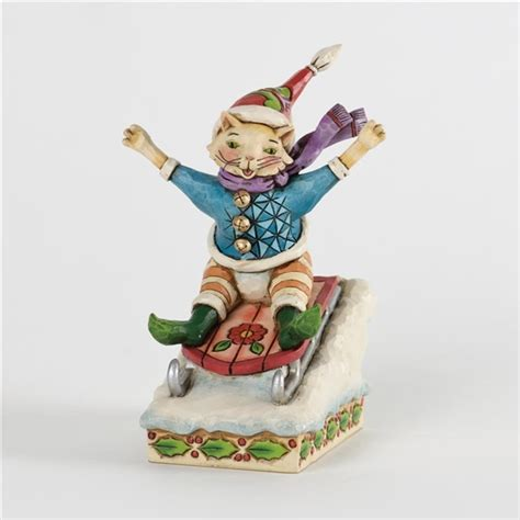 christmas cat on sled figurine jim shore heartwood