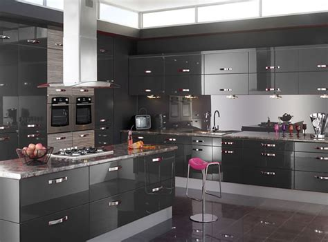 Black High Gloss Wood Large Cabinet Gray Kitchen Cabinets