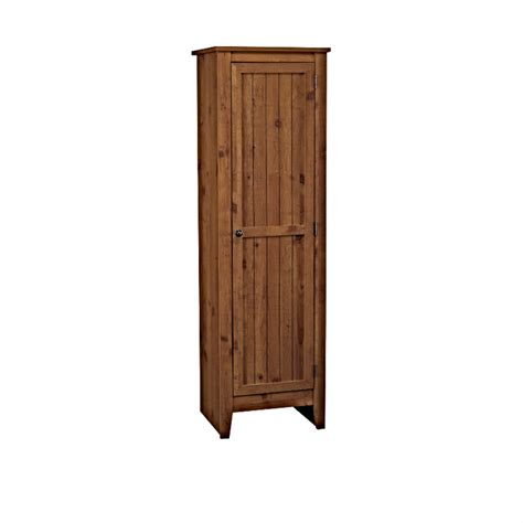 adeptus solid wood single door pantry cabinet pecan