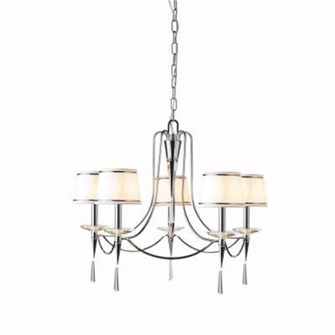 Dining Room Chandeliers Home Depot Hton Bay Halina 5 Light Hanging Chrome Chandelier 12619