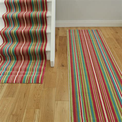 custom length rug runners lima 459 multi colour pink green stripe custom length stair runner carpet 70cm 2ft4 quot wide