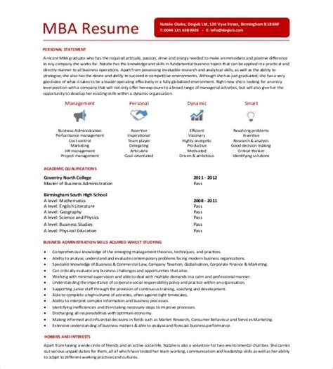 Mba Resume Format In Word by Sle Mba Resume The Best Resume
