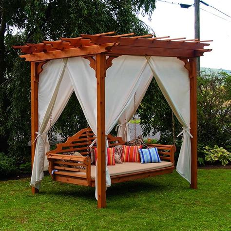 swing bed outdoor a l furniture co cedar pergola arbor swing bed set
