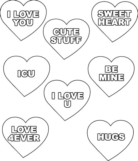 Conversation Heart Coloring Page | conversation hearts coloring pages image 169 wendy hogan