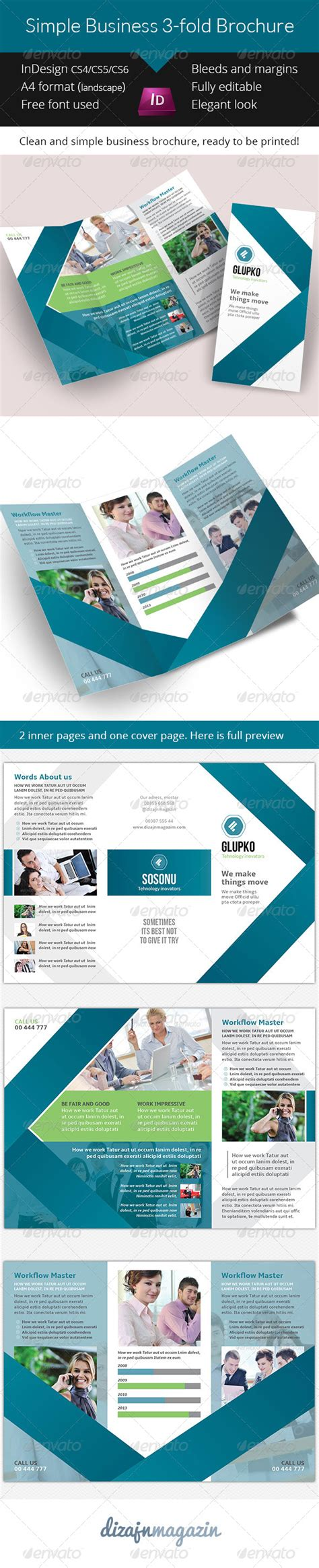simple business 3 fold brochure indesign template