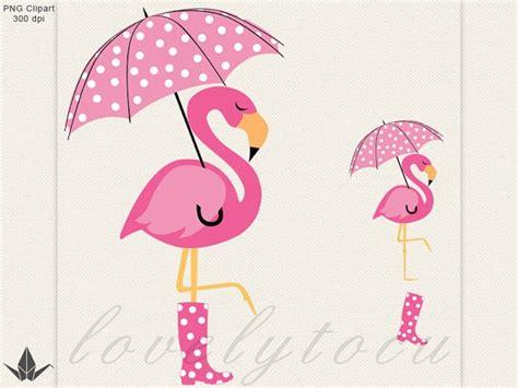 Flamingo umbrella clipart, pink flamingo in the rain