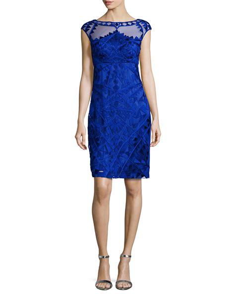 Embroidered Cocktail Dress lyst sue wong embroidered cocktail dress in blue