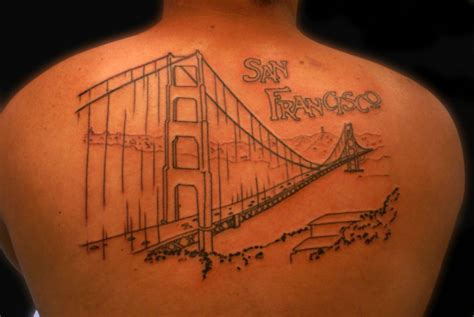 golden gate bridge tattoo black golden gate bridge in back tattoomagz