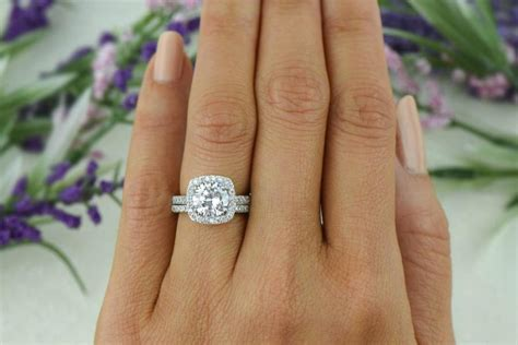 2.25 Ctw Classic Square Halo Engagement Set, Man Made