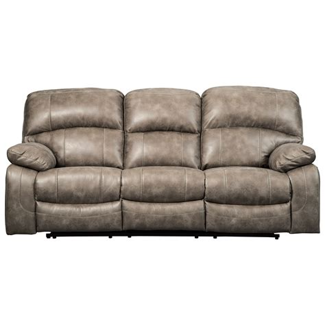 signature leather reclining sofa signature design by dunwell 5160215 faux leather