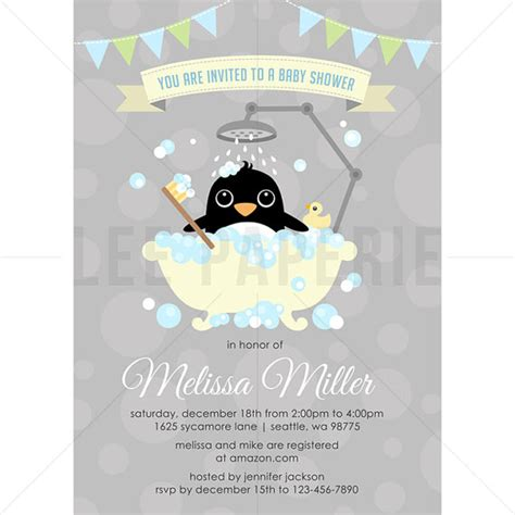 bsb016 penguin baby shower invitation boy penguin in