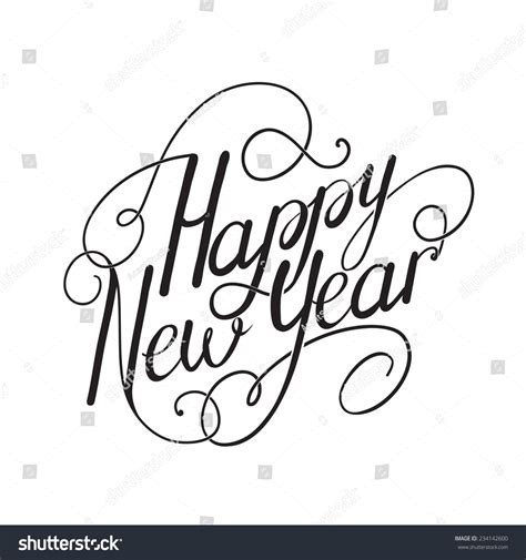 happy new year calligraphy embellishments set for