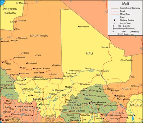 map of mali mali map and satellite image