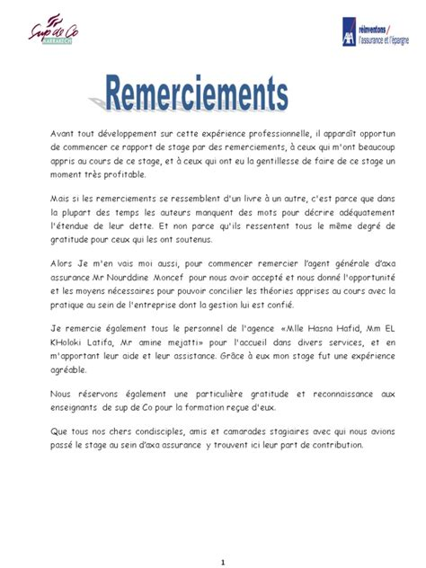 Présentation Lettre De Remerciement Stage Rapport Axa Assurance