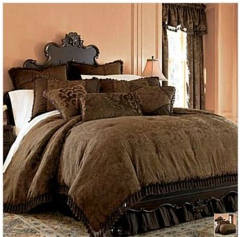 chris madden brown damask jacquard queen comforter set new