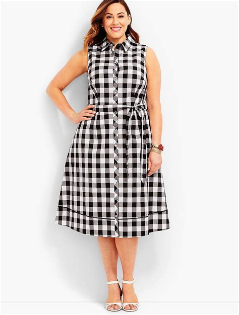 Mischa Gingham by Lyst Talbots Exclusive Gingham Shirtdress In Black