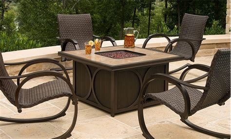 firepit table set firepit table and chairs hanover aspencrk7pcfp aspen