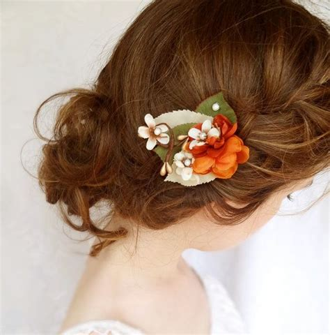 wedding hair accessories orange fall hair accessories burnt orange flower hair clip