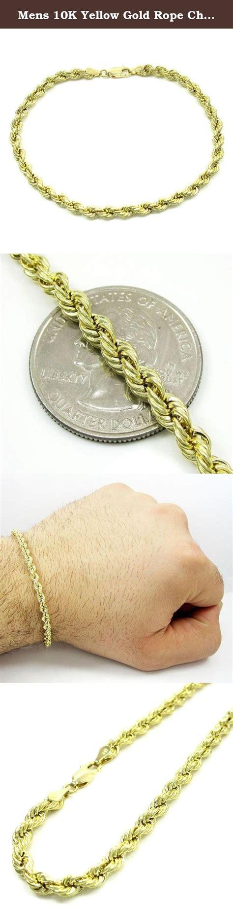 mens 10k yellow gold rope chain wrist bracelet size 7 quot 9