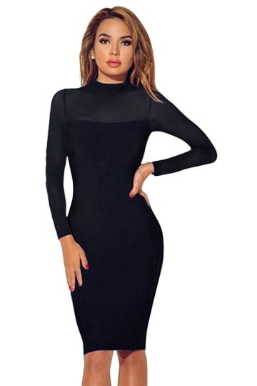 Sheer Plain Blazer In Black womens sheer sleeve plain midi bodycon dress black