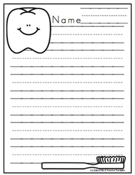 Tooth Writing Template by Free Dental Writing Paper By Preschool Printable