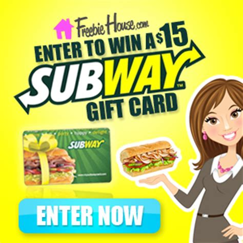 Subway Gift Card Deals - win a 15 subway gift card from freebiehouse com freebie house free sles