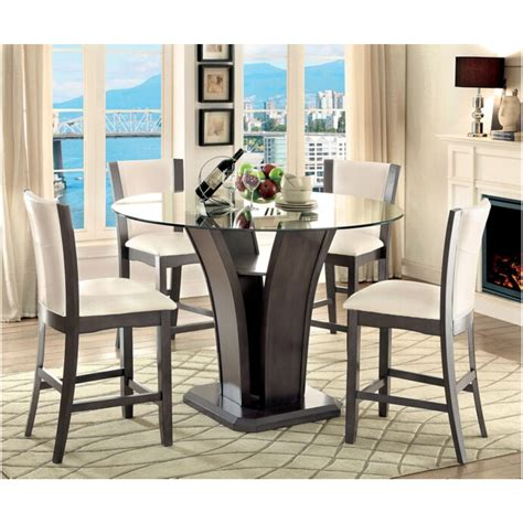 Counter Height Glass Top Dining Table 5 Pc Manhattan I Contemporary Style Gray Finish Wood Base And Glass Top Counter Height