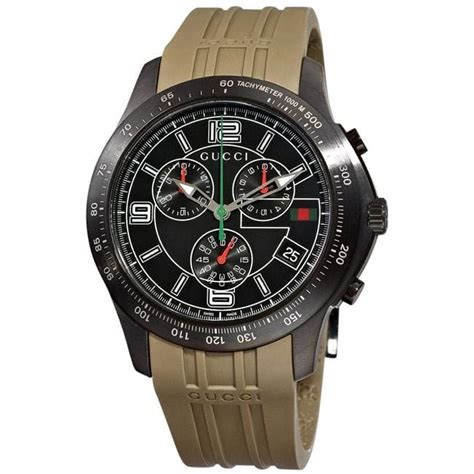 Gucci Chrono Detik Leather Grey gucci s g timeless grey rubber chronograph free shipping today overstock
